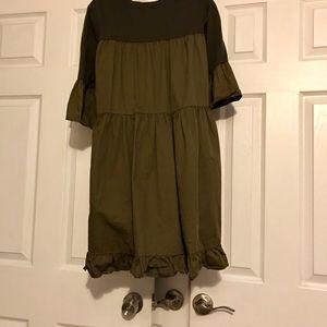 Army green mini dress with ruffle 3/4 sleeves
